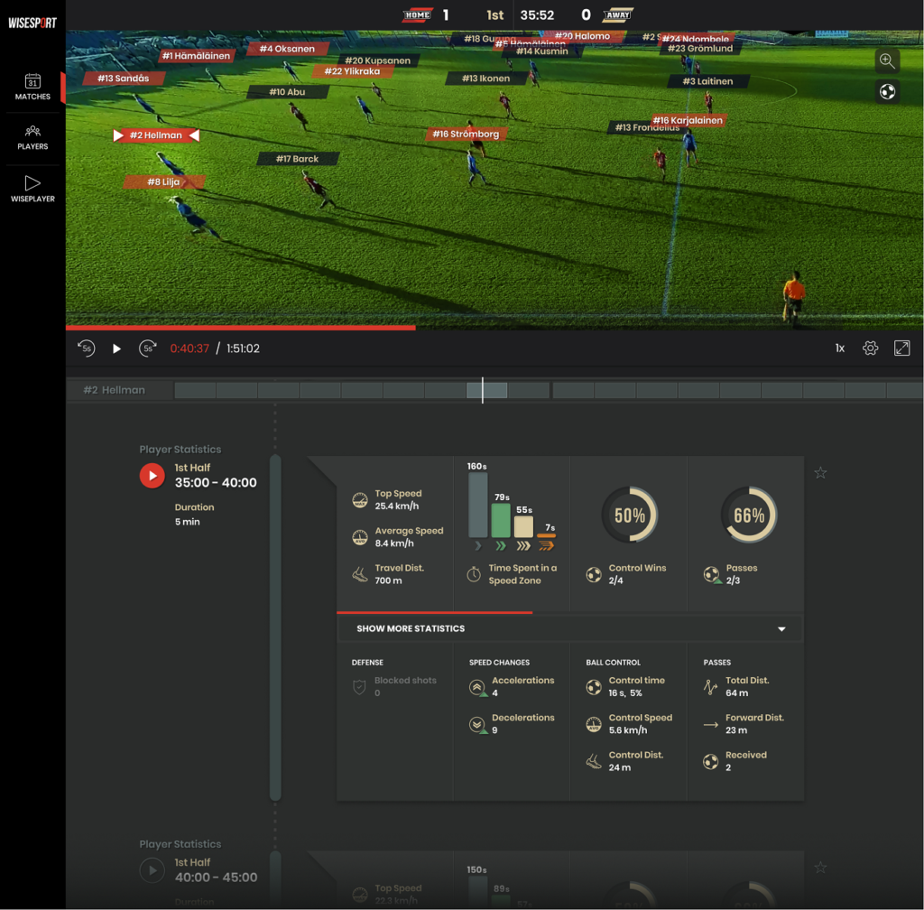 Capture from Wisesport webportal with Wiseplayer and a player's timeline