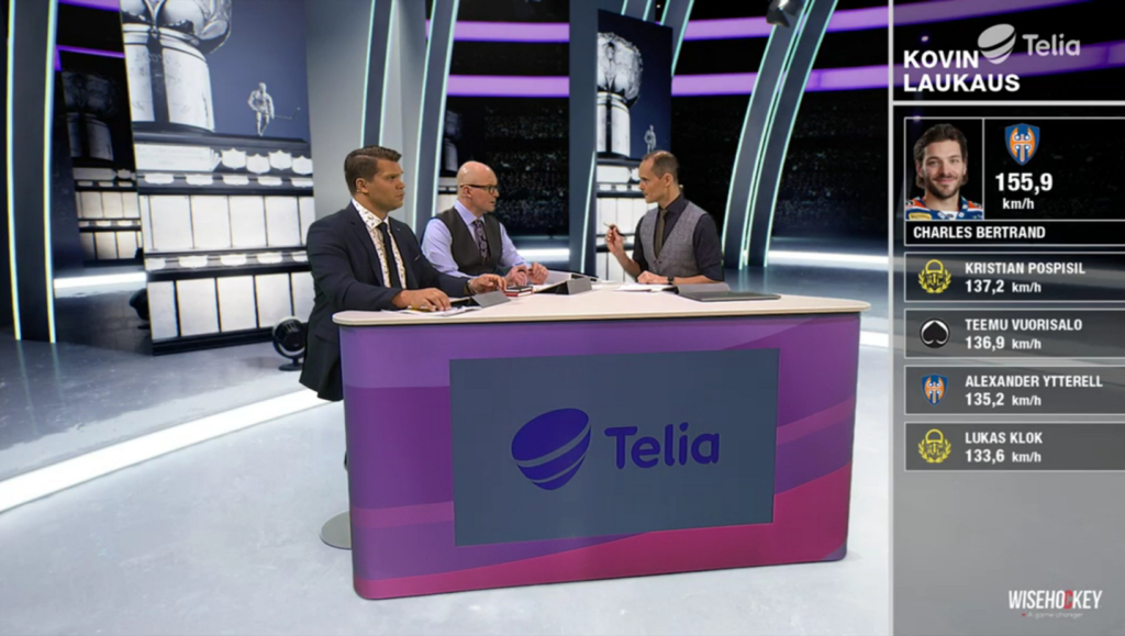 Telia's sports studio with commentators and Wisehockey data